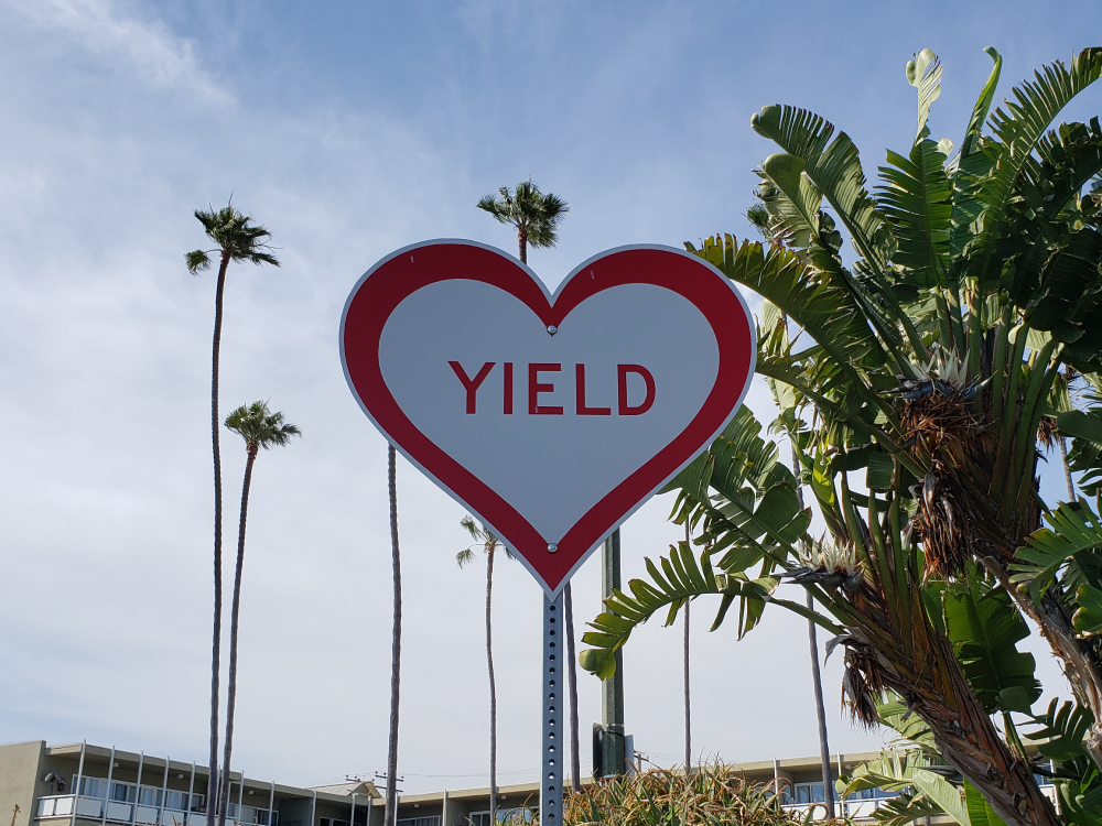 Yield Sign in Laguna Beach