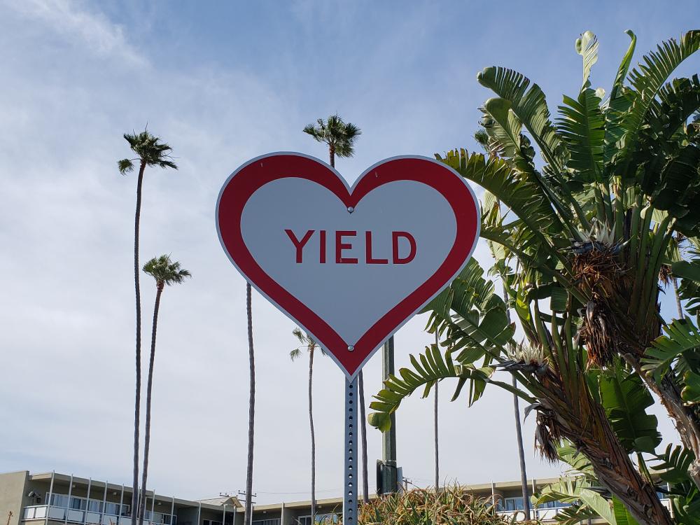 Yield Sign in Laguna Beach